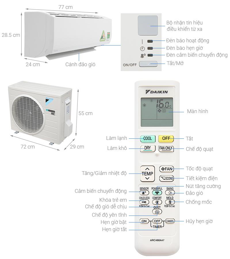 Thông số kỹ thuật Máy lạnh Daikin Inverter 1.5 HP ATKC35UAVMV