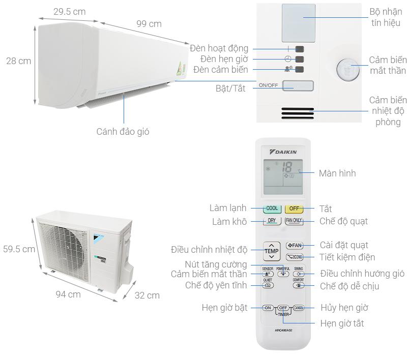 Thông số kỹ thuật Máy lạnh Daikin Inverter 2.5 HP FTKC60UVMV