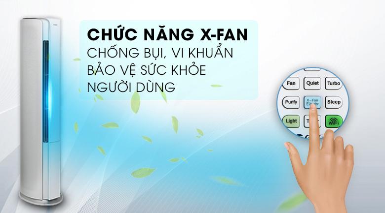 Tự làm sạch X-Fan - Máy lạnh tủ đứng Gree Inverter 2.5 HP GVH24AK-K3DNC6A