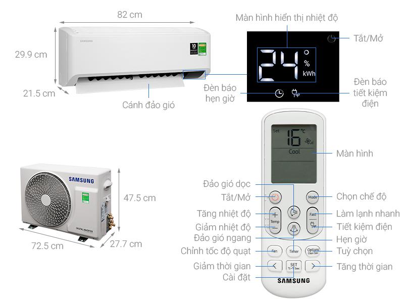 Thông số kỹ thuật Điều hòa Samsung Inverter 9400 BTU AR10TYHYCWKNSV