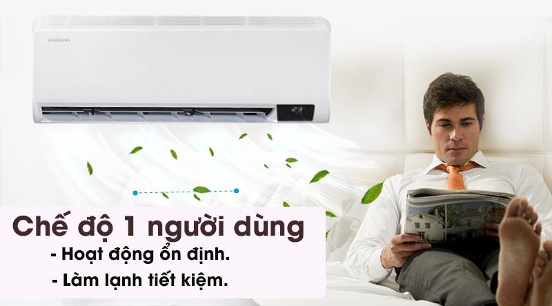 Máy lạnh Samsung Inverter 9400 BTU AR10TYHYCWKNSV-Hoạt động ổn định, làm lạnh tiết kiệm với chế độ một người dùng