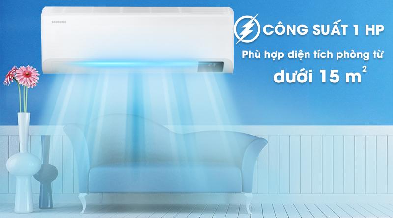 Máy lạnh Samsung Inverter 1 HP AR10TYHYCWKNSV-Công suất 1 HP, phù hợp diện tích phòng dưới 15 m2