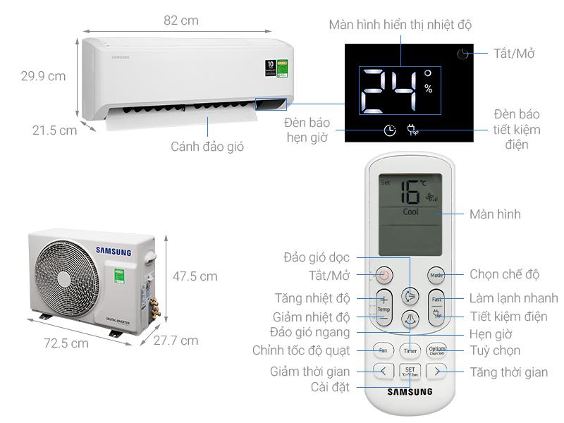 Thông số kỹ thuật Máy lạnh Samsung Inverter 1.5 HP AR13TYHYCWKNSV