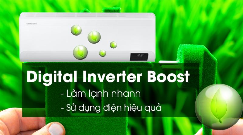 Máy lạnh Samsung Inverter 12000 BTU AR13TYHYCWKNSV -Sử dụng điện hiệu quả, làm lạnh nhanh với Digital Inverter Boost
