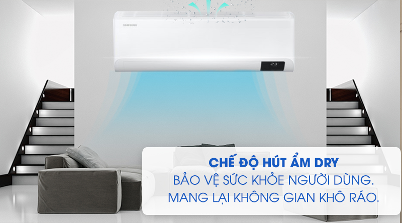 Máy lạnh Samsung Inverter 1.5 HP AR13TYHYCWKNSV -Bảo vệ sức khỏe người dùng, mang lại không gian khô ráo với chế độ hút ẩm