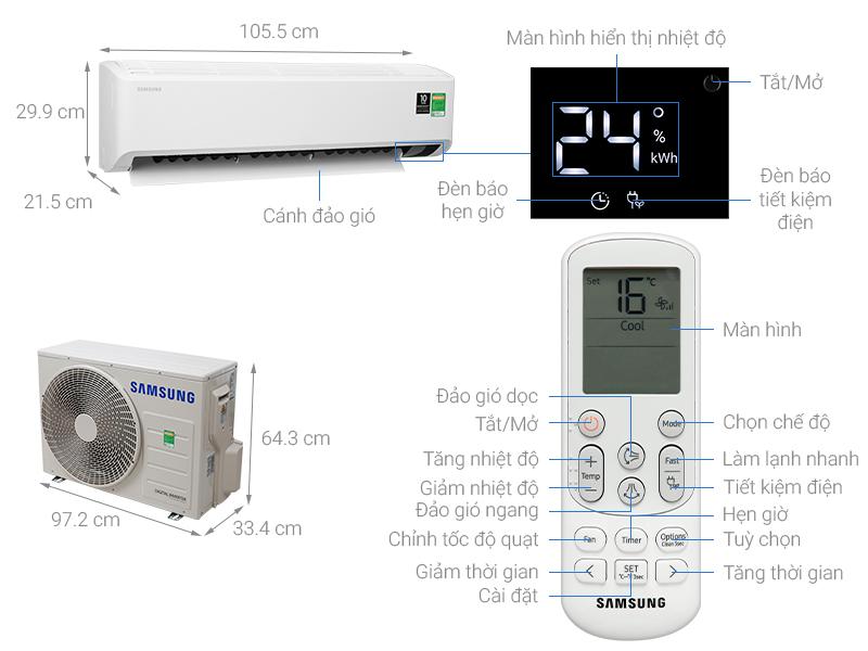 Thông số kỹ thuật Máy lạnh Samsung Inverter 2.5 HP AR24TYHYCWKNSV