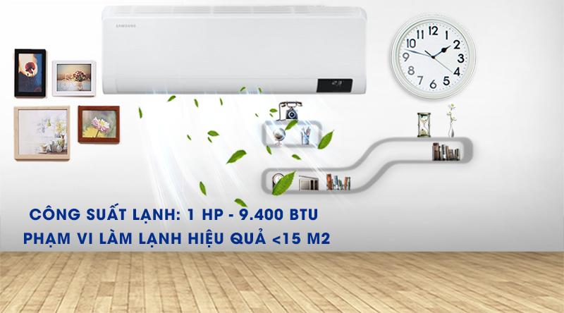 Máy lạnh Samsung Wind-Free Inverter 1 HP AR10TYAACWKNSV-Công suất 1 HP, phù hợp diện tích phòng dưới 15 m2
