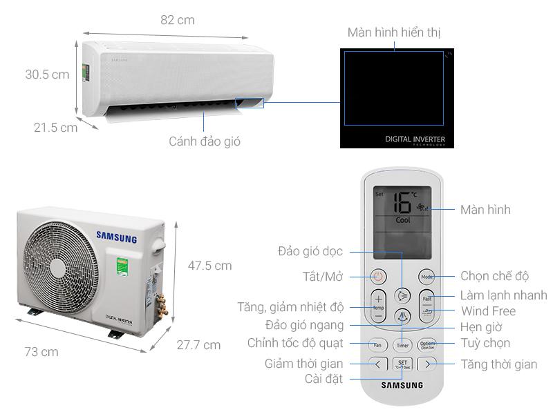 Thông số kỹ thuật Điều hòa Samsung Wind-Free Inverter 12000 BTU AR13TYGCDWKNSV