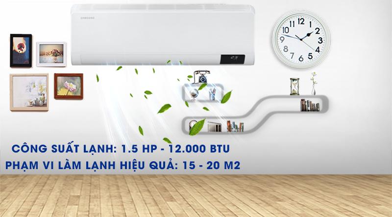 Máy lạnh Samsung Wind-Free Inverter 12000 BTU AR13TYGCDWKNSV -Công suất 12000 BTU, phù hợp căn phòng có diện tích từ 15 - 20 m2