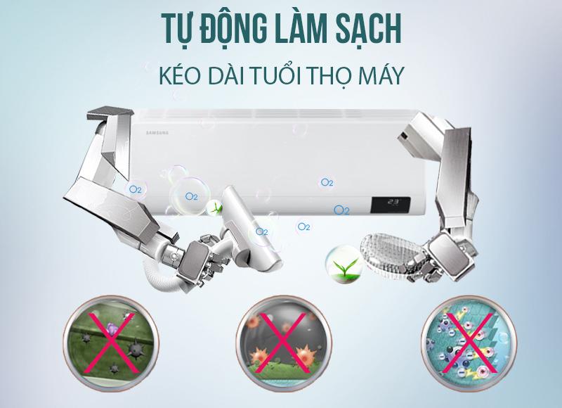 Máy lạnh Samsung Wind-Free Inverter 18000 BTU AR18TYGCDWKNSV-Kéo dài tuổi thọ máy nhờ chức năng tự làm sạch
