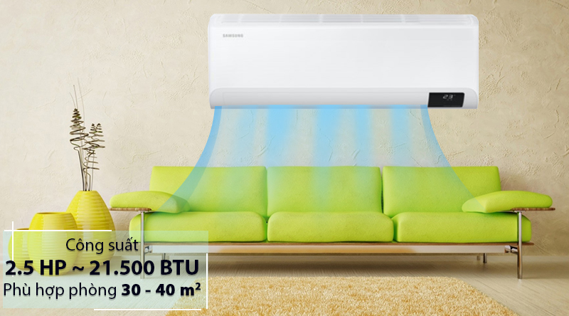 Máy lạnh Samsung Wind-Free Inverter 2.5 HP AR24TYGCDWKNSV-Công suất 2.5 HP, phù hợp diện tích căn phòng lớn từ 30 - 40 m2