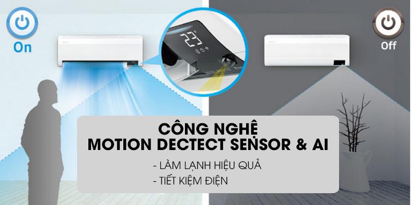 Máy lạnh Samsung Wind-Free Inverter 1.5 HP AR13TYAACWKNSV-Làm lạnh hiệu quả với cảm biến chuyển động cùng trí thông minh nhân tạo