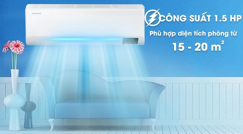 Máy lạnh Samsung Wind-Free Inverter 1.5 HP AR13TYAACWKNSV-Công suất 1.5 HP, phù hợp diện tích căn phòng từ 15 - 20 m2