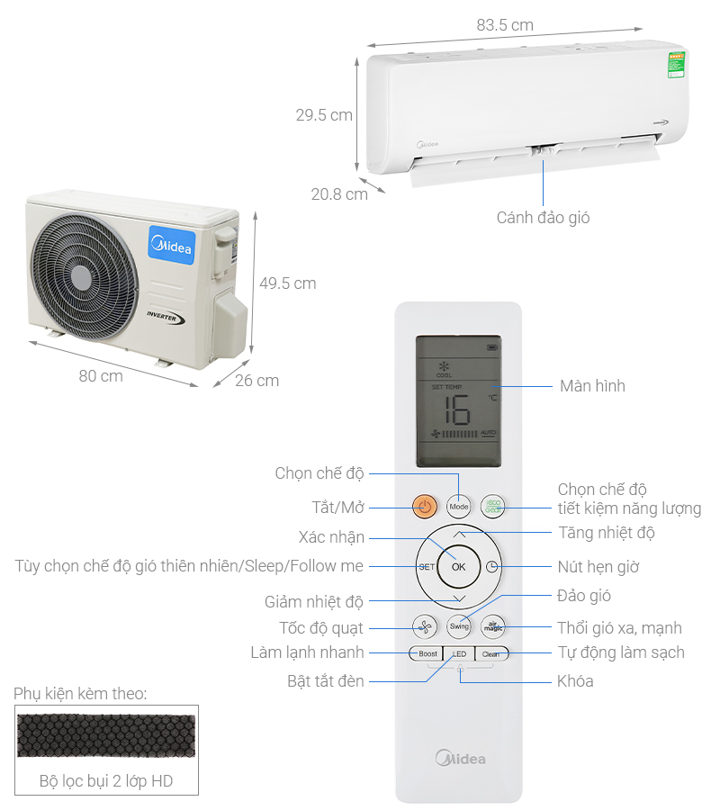 Thông số kỹ thuật Máy lạnh Midea Inverter 1 HP MSAG-10CRDN8