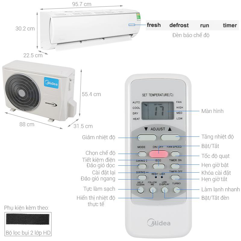 Thông số kỹ thuật Máy lạnh Midea Inverter 2 HP MSAFA-18CRDN8