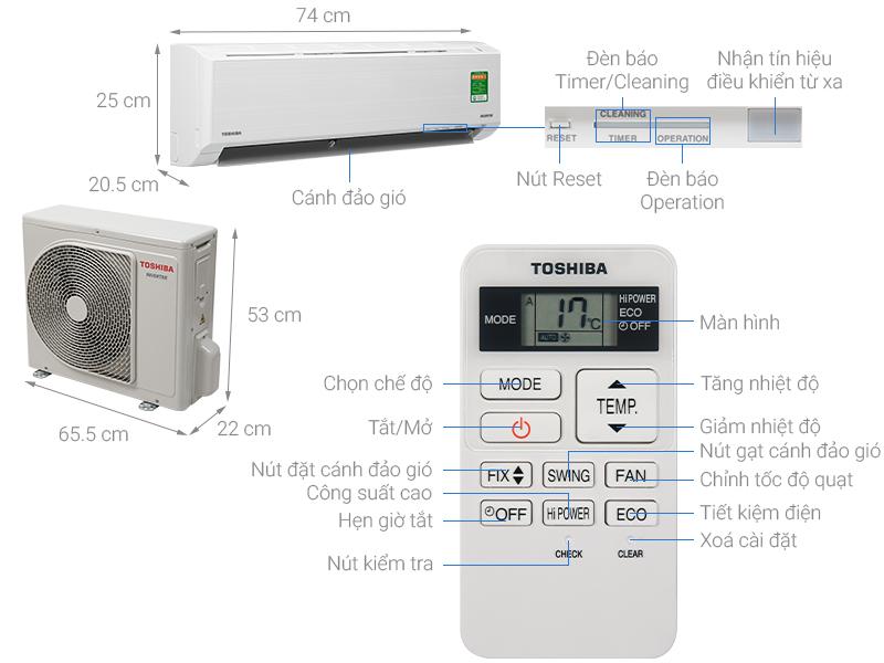 Thông số kỹ thuật Máy lạnh Toshiba Inverter 1 HP RAS-H10D2KCVG-V