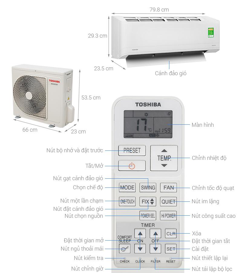 Thông số kỹ thuật Máy lạnh Toshiba Inverter 1 HP RAS-H10X2KCVG-V
