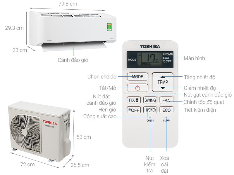 Thông số kỹ thuật Máy lạnh Toshiba Inverter 1.5 HP RAS-H13C2KCVG-V