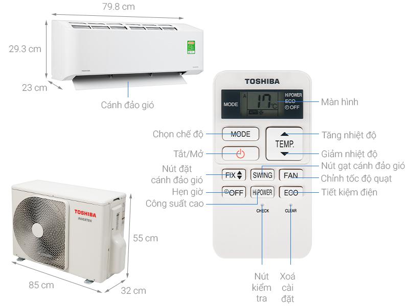 Thông số kỹ thuật Máy lạnh Toshiba Inverter 2 HP RAS-H18C2KCVG-V