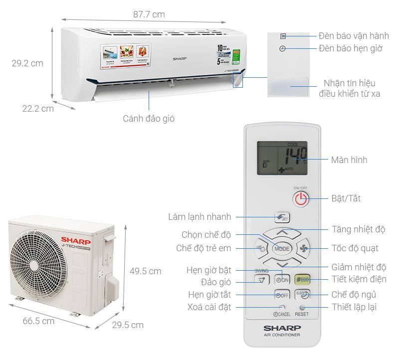 Thông số kỹ thuật Máy lạnh Sharp Inverter 1.5 HP AH-X12XEW