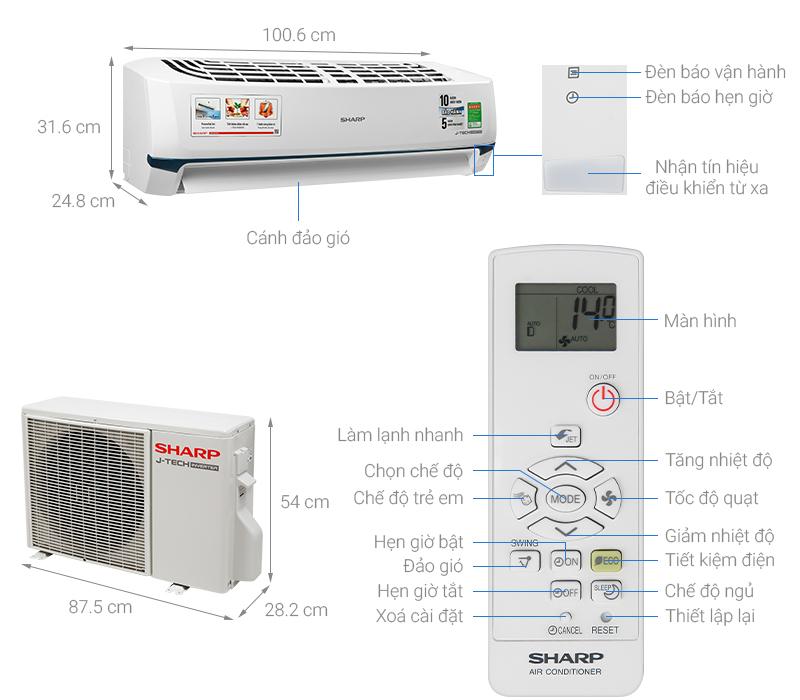 Thông số kỹ thuật Máy lạnh Sharp Inverter 2 HP AH-X18XEW