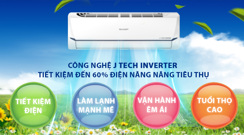 J-tech inverter-Máy lạnh Sharp Inverter 2 HP AH-X18XEW