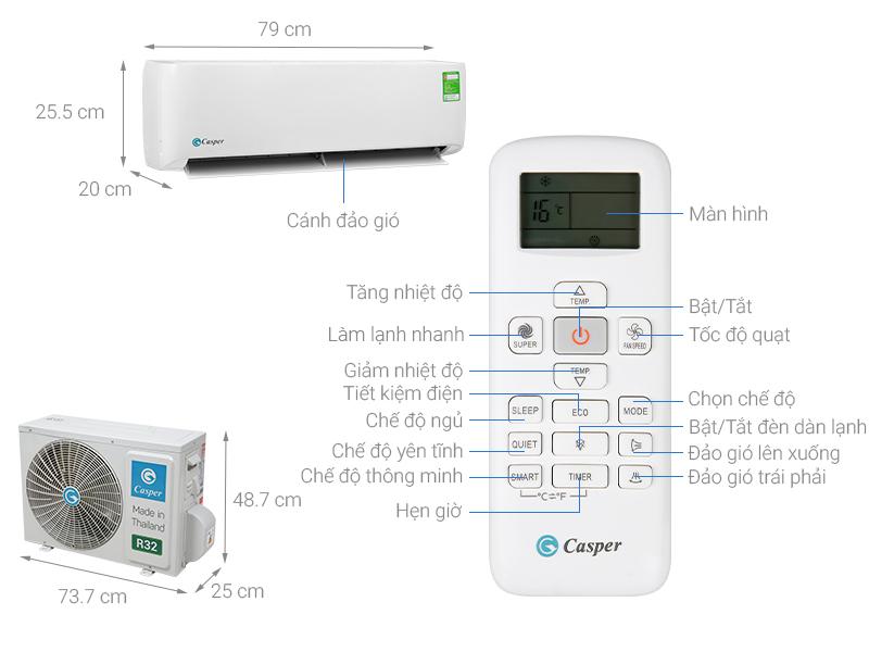 Thông số kỹ thuật Máy lạnh Casper 1 HP LC-09TL32