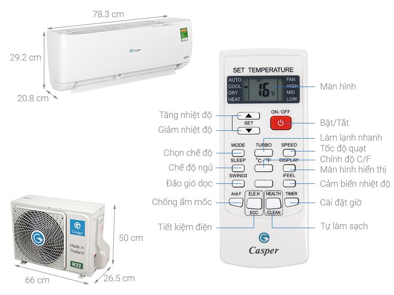 Thông số kỹ thuật Máy lạnh Casper Inverter 1 HP GC-09TL32