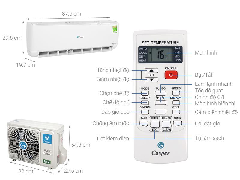 Thông số kỹ thuật Máy lạnh Casper Inverter 1.5 HP GC-12TL32