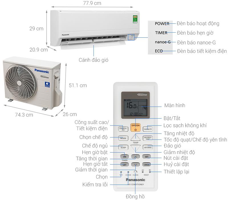 Thông số kỹ thuật Máy lạnh Panasonic Inverter 1 HP CU/CS-PU9WKH-8M