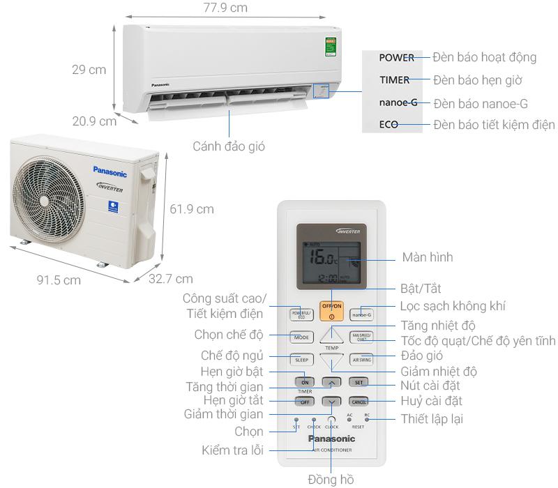 Thông số kỹ thuật Máy lạnh Panasonic Inverter 2 HP CU/CS-PU18WKH-8M
