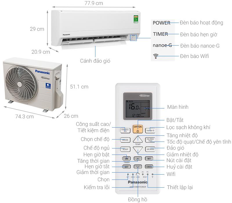 Thông số kỹ thuật Máy lạnh Panasonic Inverter 1 HP CU/CS-WPU9WKH-8M
