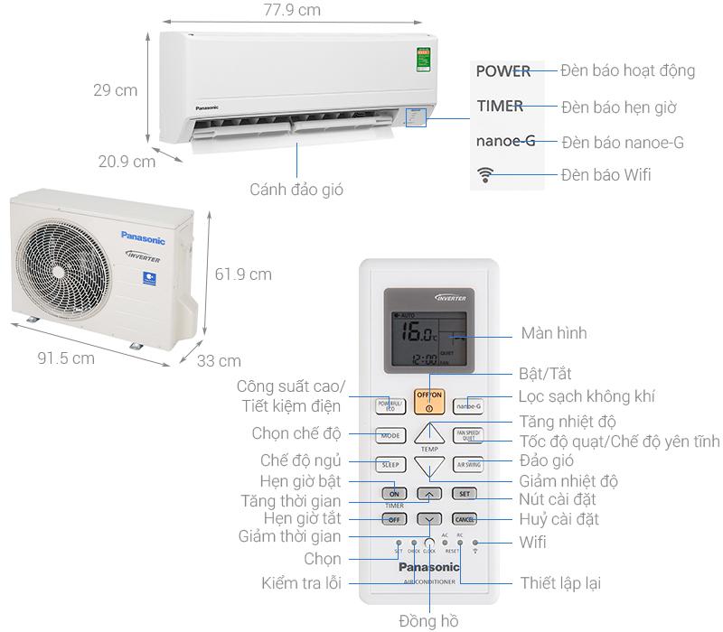 Thông số kỹ thuật Máy lạnh Panasonic Inverter 2 HP CU/CS-WPU18WKH-8M