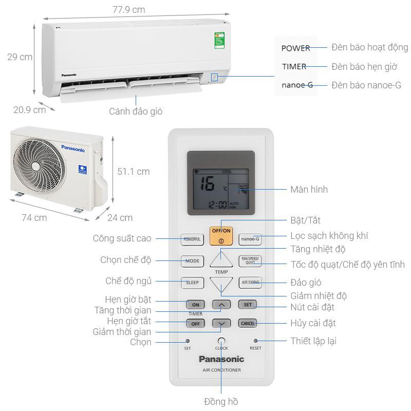 Thông số kỹ thuật Máy lạnh Panasonic 1 HP CU/CS-N9WKH-8M