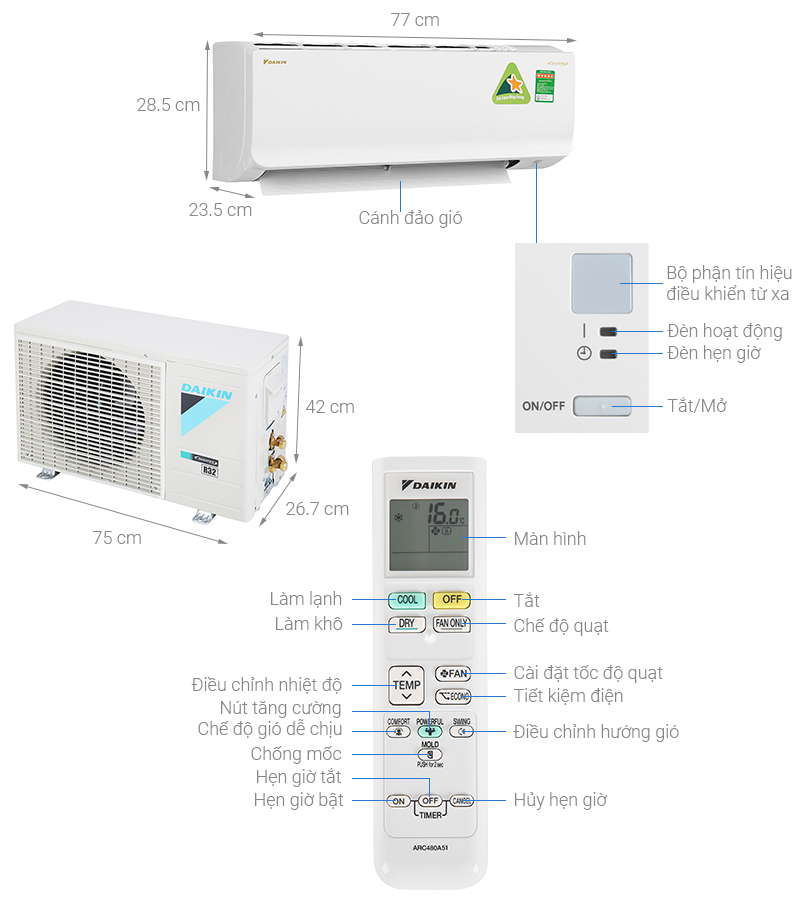 Thông số kỹ thuật Máy lạnh Daikin Inverter 1 HP ATKA25UAVMV