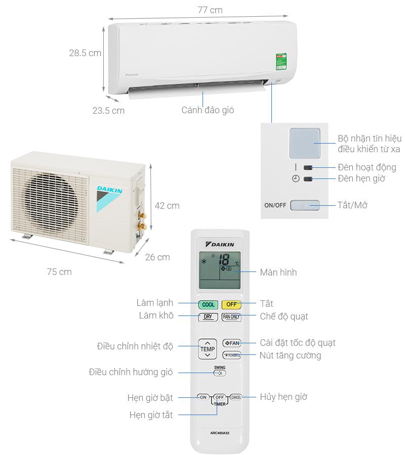 Thông số kỹ thuật Máy lạnh Daikin 1 HP ATF25UV1V