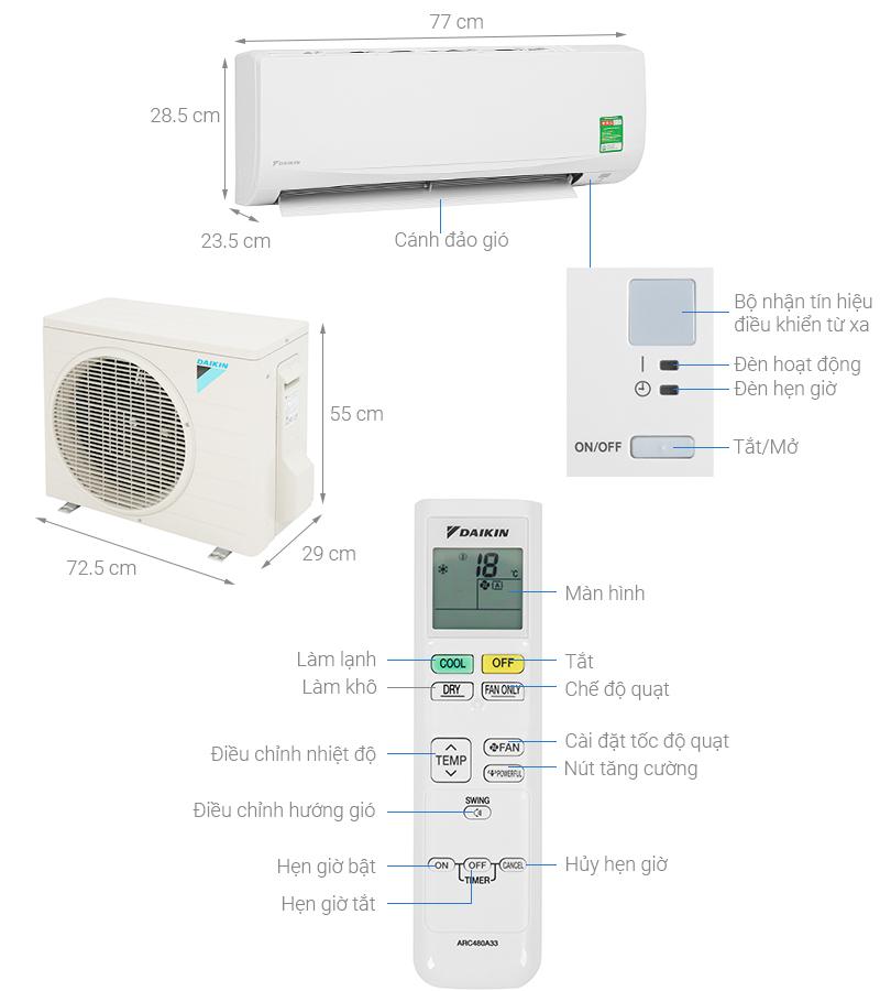 Thông số kỹ thuật Máy lạnh Daikin 1.5 HP ATF35UV1V