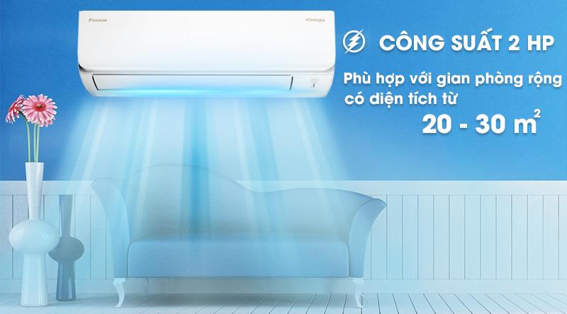 Máy lạnh Daikin Inverter 17100 BTU FTKA50UAVMV-Công suất 17100 BTU, phù hợp diện tích căn phòng từ 20 - 30 m2