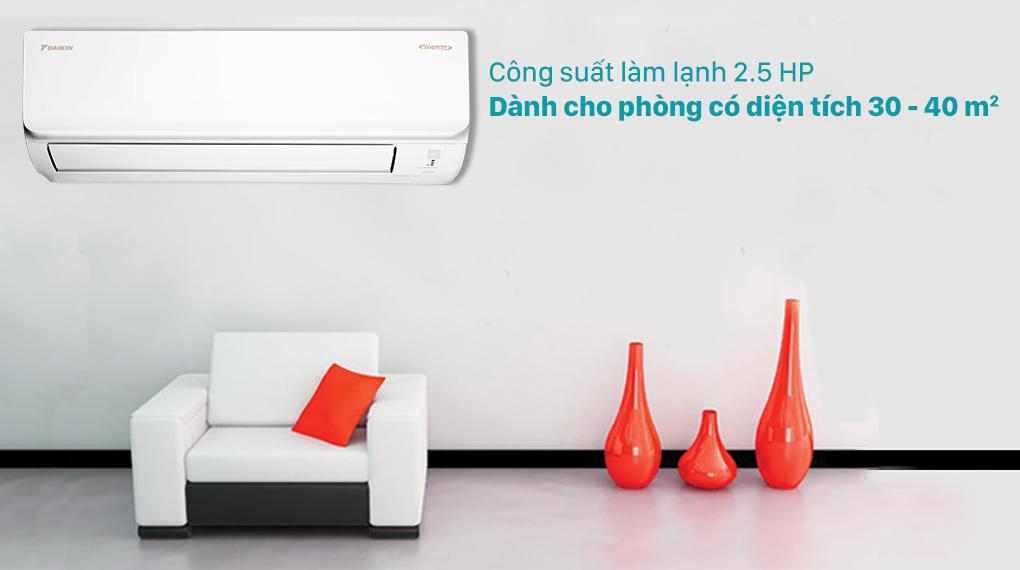 Máy lạnh Daikin Inverter 2.5 HP FTKA60UAVMV-Công suất 2.5 HP, phù hợp diện tích căn phòng từ 30 - 40 m2
