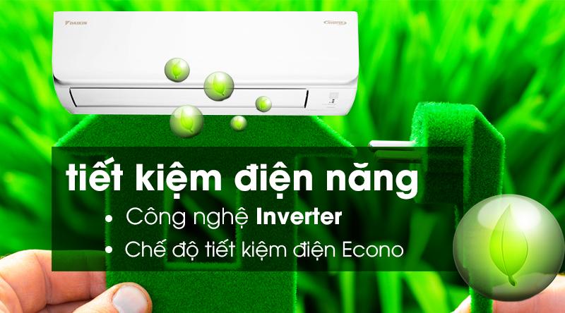 Máy lạnh Daikin Inverter 2.5 HP FTKA60UAVMV-Tiết kiệm điện hiệu quả nhờ công nghệ Inverter