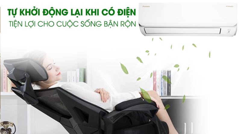 Máy lạnh Daikin Inverter 2.5 HP FTKA60UAVMV-Tiện lợi cùng chức năng tự khởi động lại khi có điện