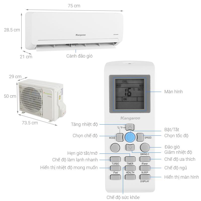 Thông số kỹ thuật Máy lạnh Kangaroo Inverter 1 HP KGAC09CI