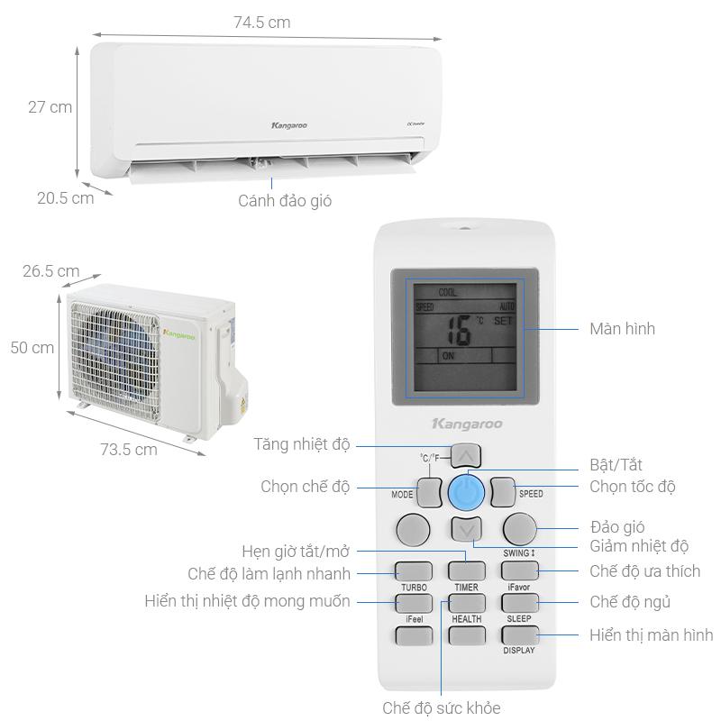 Thông số kỹ thuật Máy lạnh Kangaroo 1 HP KGAC09CN