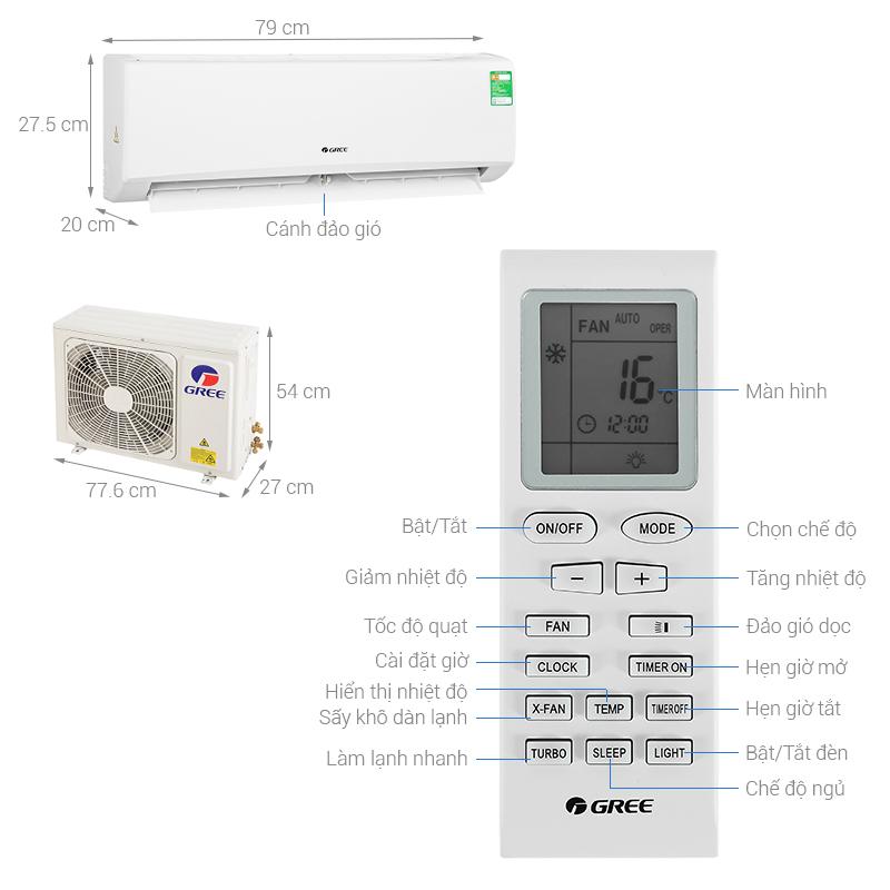Thông số kỹ thuật Máy lạnh Gree 1 HP GWC09KB-K6N0C4