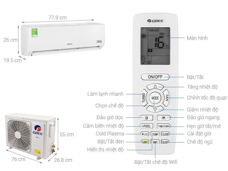 Thông số kỹ thuật Máy lạnh Gree Inverter 1 HP GWC09PB-K3D0P4