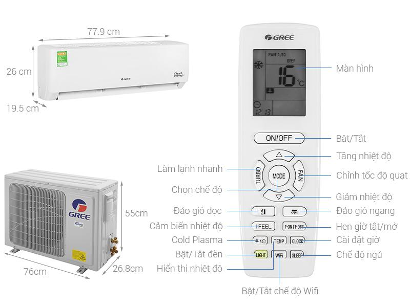 Thông số kỹ thuật Máy lạnh Gree Inverter 1.5 HP GWC12PB-K3D0P4