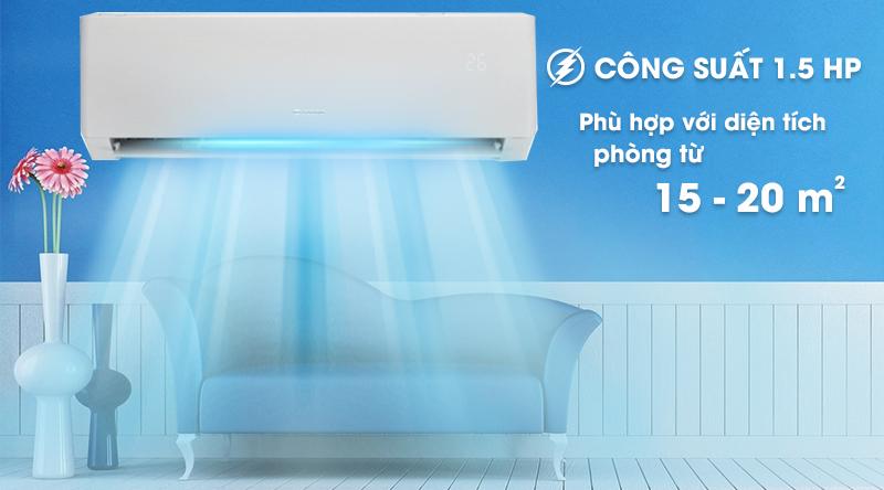 Máy lạnh Gree Inverter 1.5 HP GWC12PB-K3D0P4-Công suất 1.5 HP, phù hợp diện tích căn phòng từ 15 - 20 mét vuông