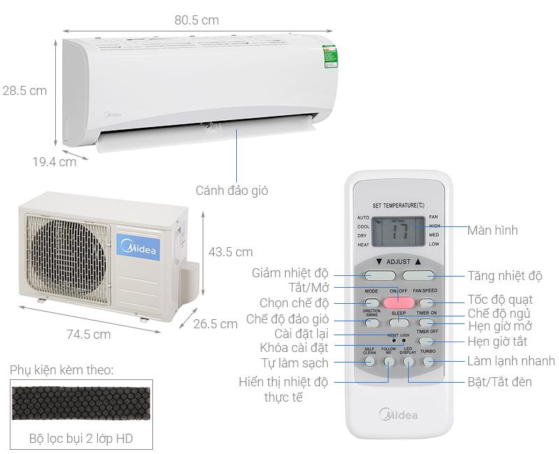 Thông số kỹ thuật Máy lạnh Midea 1 HP MSAFA-10CRN8