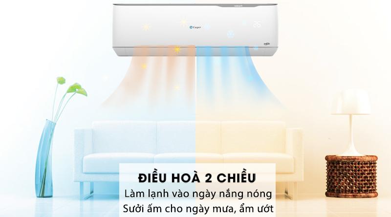 Máy lạnh 2 chiều Casper Inverter 1.5 HP GH-12TL32-Thuộc kiểu điều hòa 2 chiều, sưởi ấm và làm mát tiện lợi