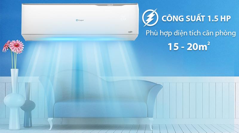 Máy lạnh 2 chiều Casper Inverter 1.5 HP GH-12TL32-Công suất 1.5 HP, phù hợp cho diện tích phòng 15 - 20m2